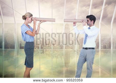 Business people looking at each other against room with large window looking on city