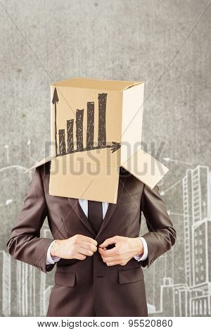 Anonymous businessman buttoning his jacket against hand drawn city plan