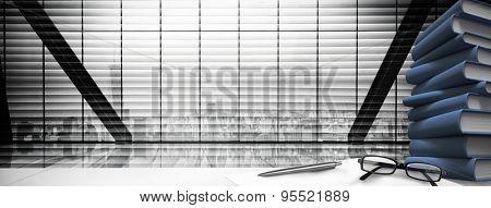 desk against window overlooking city