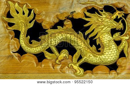 The Wooden Carved Chinese Dragon