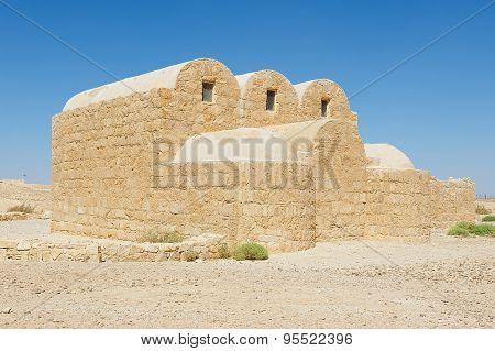 Exterior of the Amra desert castle (Qasr Amra) near Amman, Jordan.