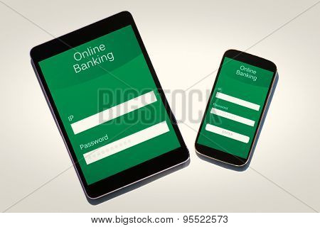 Online banking against tablet and smartphone