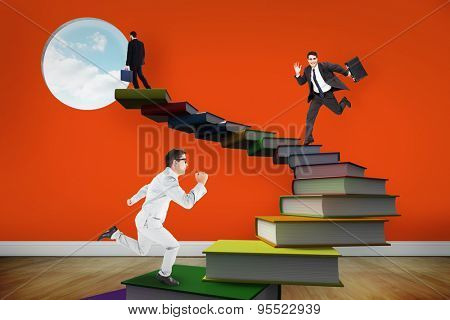 Cheerful businessman in a hurry against room with wooden floor