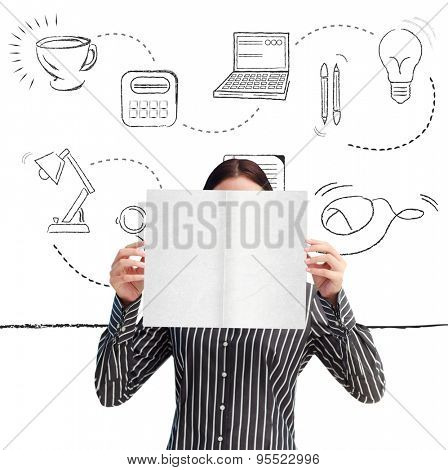 Businesswoman showing a white card in front of her face against office supplies doodle