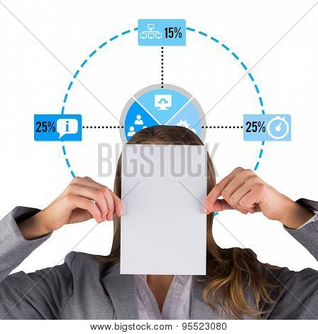 Businesswoman showing a card against percentage interface