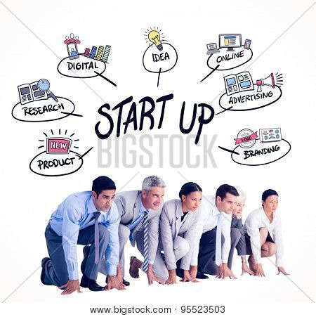 Business people preparing to run against start up doodle