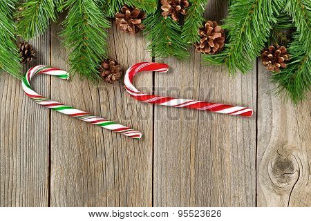 Christmas Border With Decorations On Rustic Wooden Boards