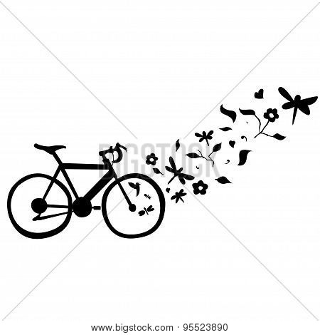 Cycling Floral Wall Decal Vector Illustration