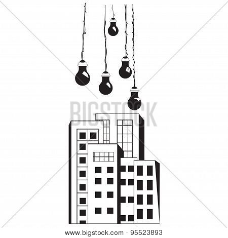 Building Architectural Wall Decal Vector Illustration