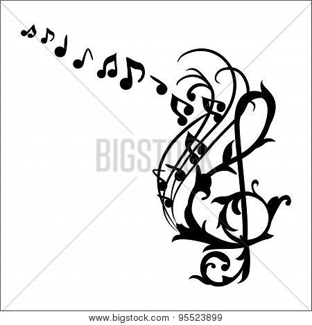 Music Notes Wall Decal Vector Illustration