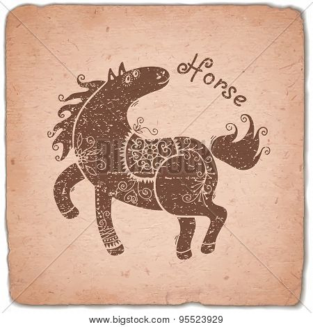 Horse. Chinese Zodiac Sign Horoscope Vintage Card.