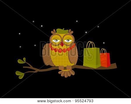 Portrait of fashionable owl on great night sale.