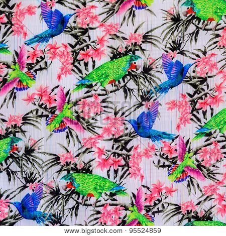 Texture Of Print Fabric Stripes Bird And Flower