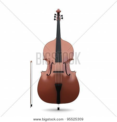 Contrabass Isolated On White