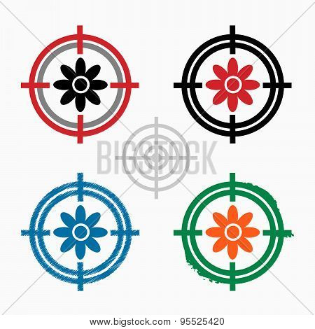 Pictograph Of Flower On Target Icons Background