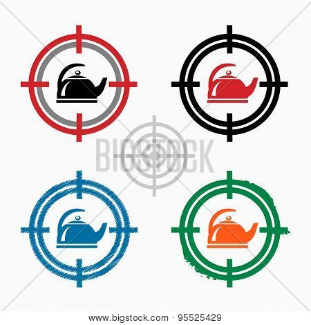 Tea Maker On Target Icons Background