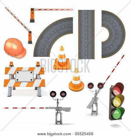Set Of Road Works