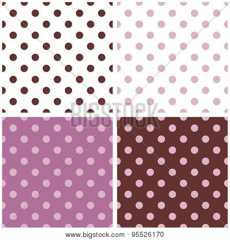Tile vector white, violet and brown background set with polka dots