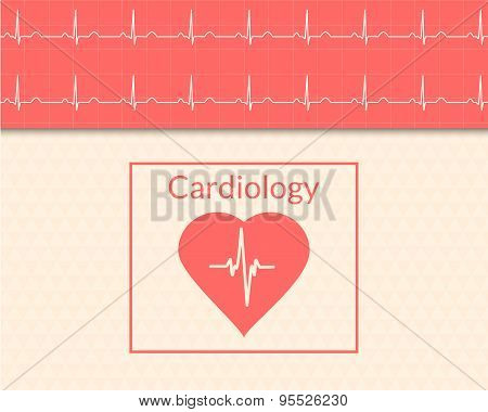 Cardiology Concept. Medical Background Of The Heart And Ecg Graph.
