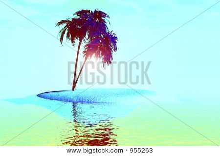 Mulit Colored Palm Trees