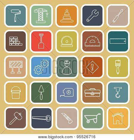 Construction Line Flat Icons On Brown Background