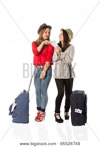 Young female tourists and the airport