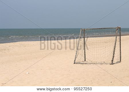 Empty Rusty Goal In A Sand Soccer Field