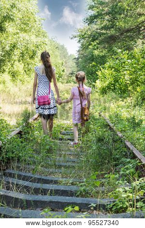 Two Girls Go By Railway