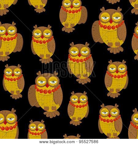 Seamless pattern with fashionable retro owls.