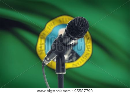 Microphone On Stand With Us State Flag On Background - Washington