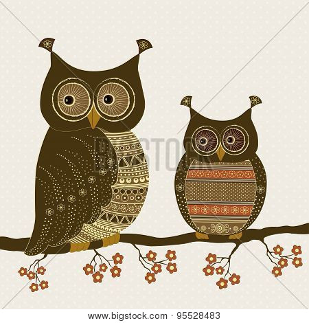 Cute Stylized Ornamental Owls