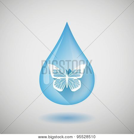 Long Shadow Water Drop Icon With A Butterfly