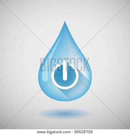 Long Shadow Water Drop Icon With An Off Button