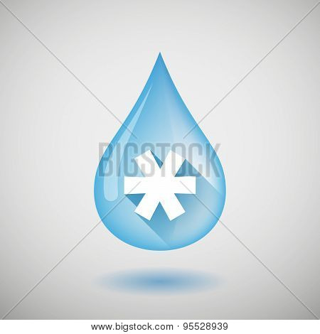 Long Shadow Water Drop Icon With An Asterisk