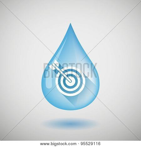 Long Shadow Water Drop Icon With A Dart Board