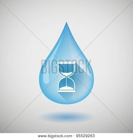 Long Shadow Water Drop Icon With A Sand Clock