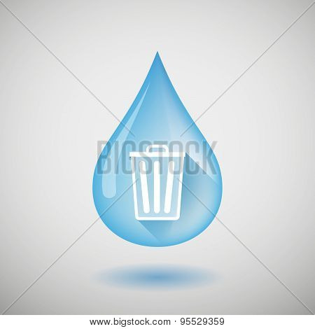 Long Shadow Water Drop Icon With A Trash Can