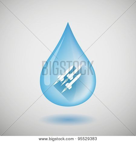 Long Shadow Water Drop Icon With Missiles