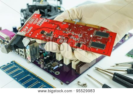 Vga Card In Repairman's Hand