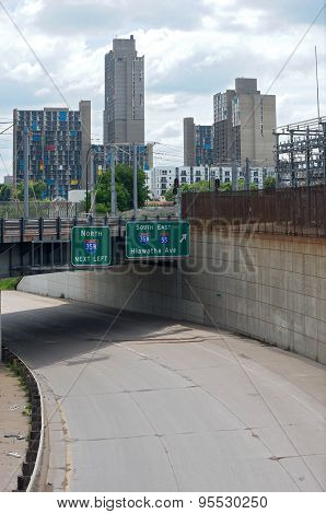 Minneapolis Overpass And Cityscape