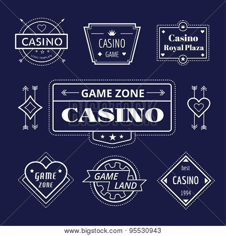 Casino vector logo icons set. Poker, cards or game and money symbol. Stocks design element.