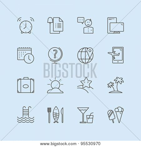 Summer vector logo icons set. Sea, travel or holiday and sea symbol. Stocks design elements.