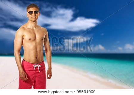 Man on beach at Maldives. Collage.