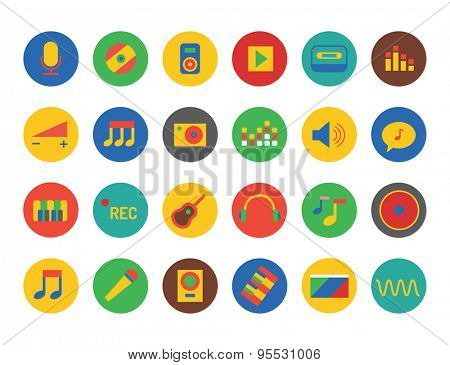 Music Icons Vector Set. Sound, tools or Dj and note symbols. Stocks design element.