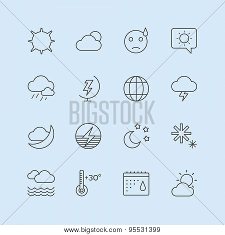 Weather Icons Vector Set. Moon, Sky or Wind and Cloud symbols. Stocks Design Elements.