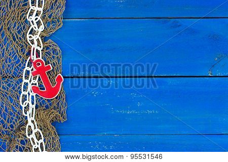 Nautical sign with fish net and anchor