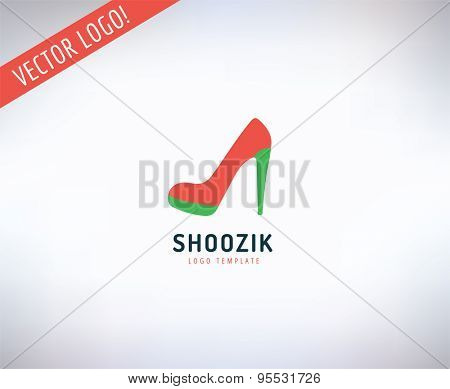 Shoes vector logo icon. Style, Cloth or Shop and Dress symbol. Stocks design element