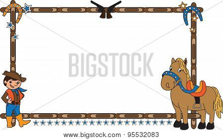 Frame with cowboy and horse