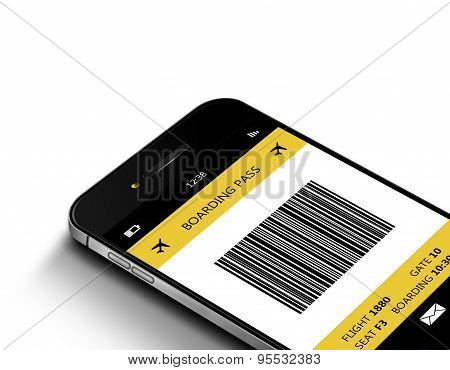 Mobile Phone With Mobile Boarding Pass Over White