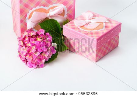 Hydrangea Flower And Gift Box